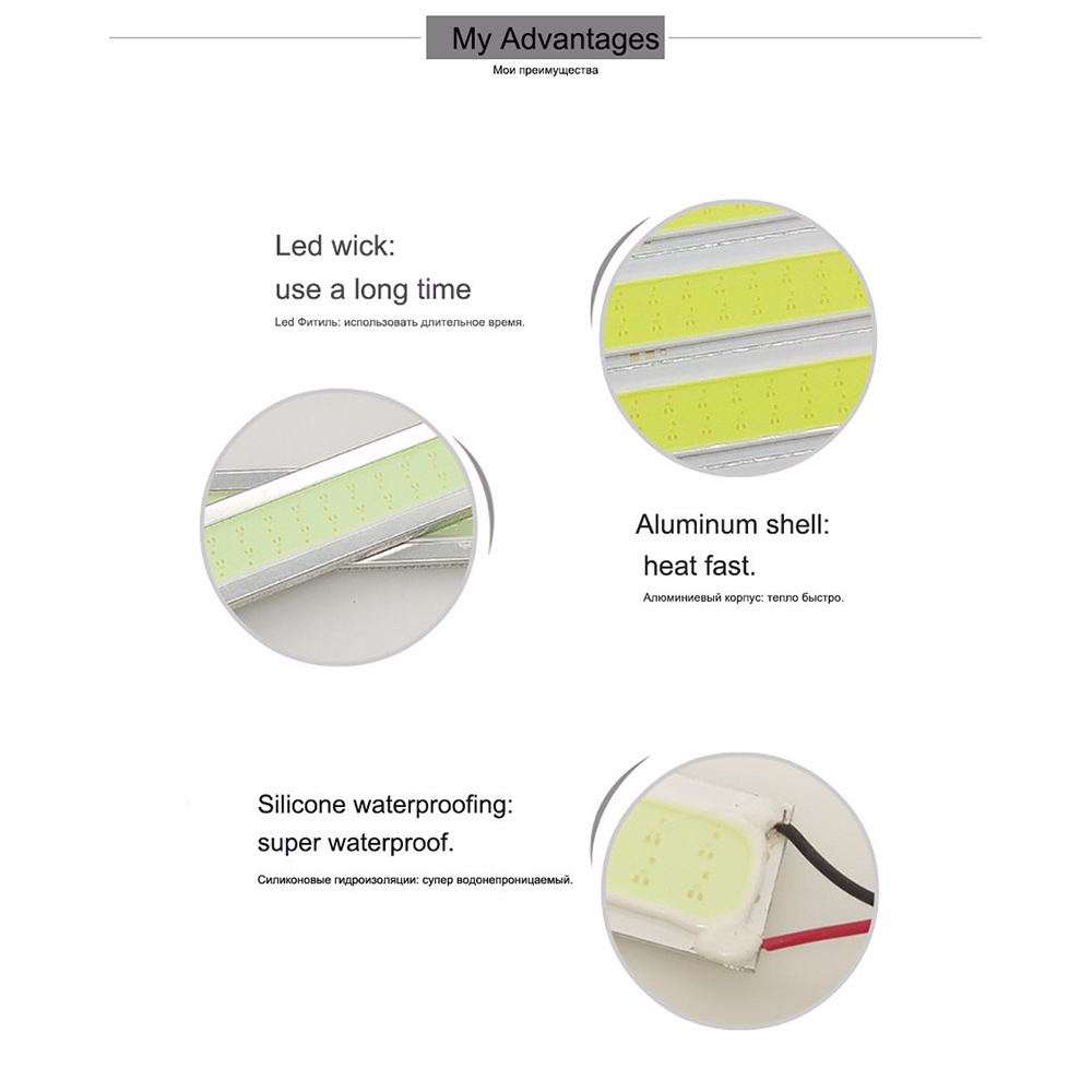 GEETANS 6 PCS COB LED Daytime Running Lights DRL 14-17 cm Tahan Air - Lampu mobil - Foto 4