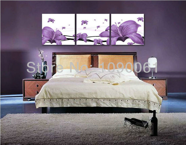 Modern Abstract Hand Oil Painting On Canvas Purple Flower 3 Piece Wall Art Decor For Bedroom