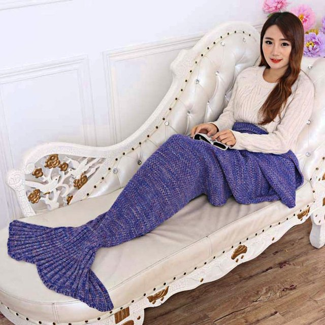 195x95CM Yarn Knitted Mermaid Tail Blanket Super Soft Sleeping Bed Handmade Crochet  Anti-Pilling Portable Blanket For Autum
