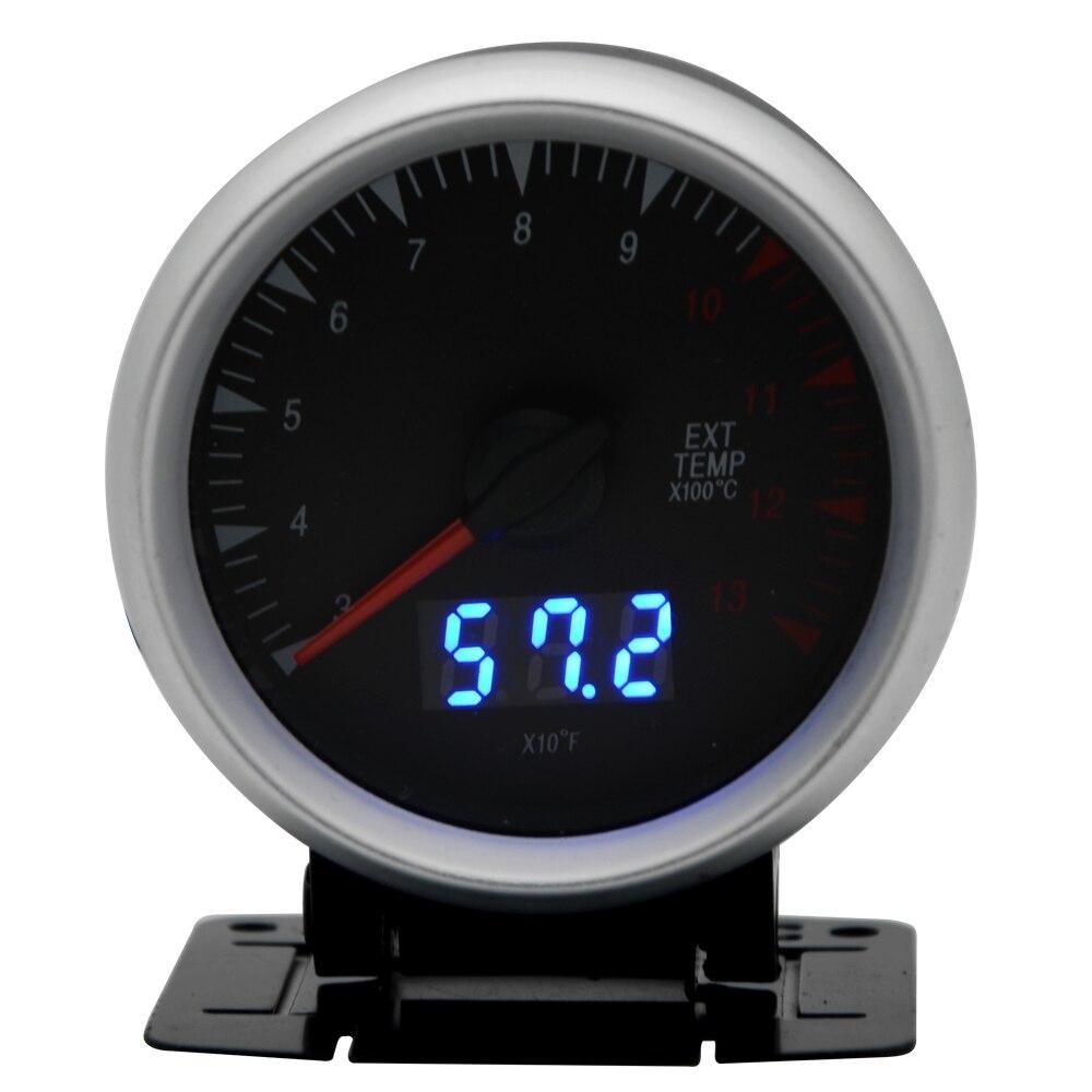 2.5 Inch 60mm Exhaust Gas Temp Gauge Dual Units Digital Analog Display Blue LED With Sensor