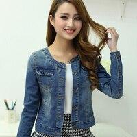 Women spring and autumn denim clothing top plus size Denim outerwear short design slim long sleeve o neck