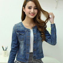 Women spring and autumn denim clothing top plus size Denim outerwear short design slim long-sleeve o-neck