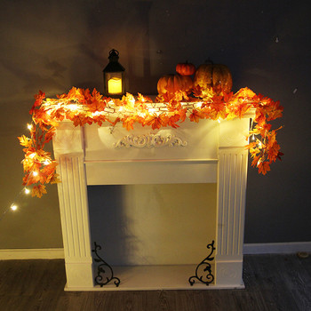 Halloween Decoration 1.7M LED Lighted Fall Autumn Pumpkin Maple Leaves Garland Thanksgiving Home Party Decor 5O0824