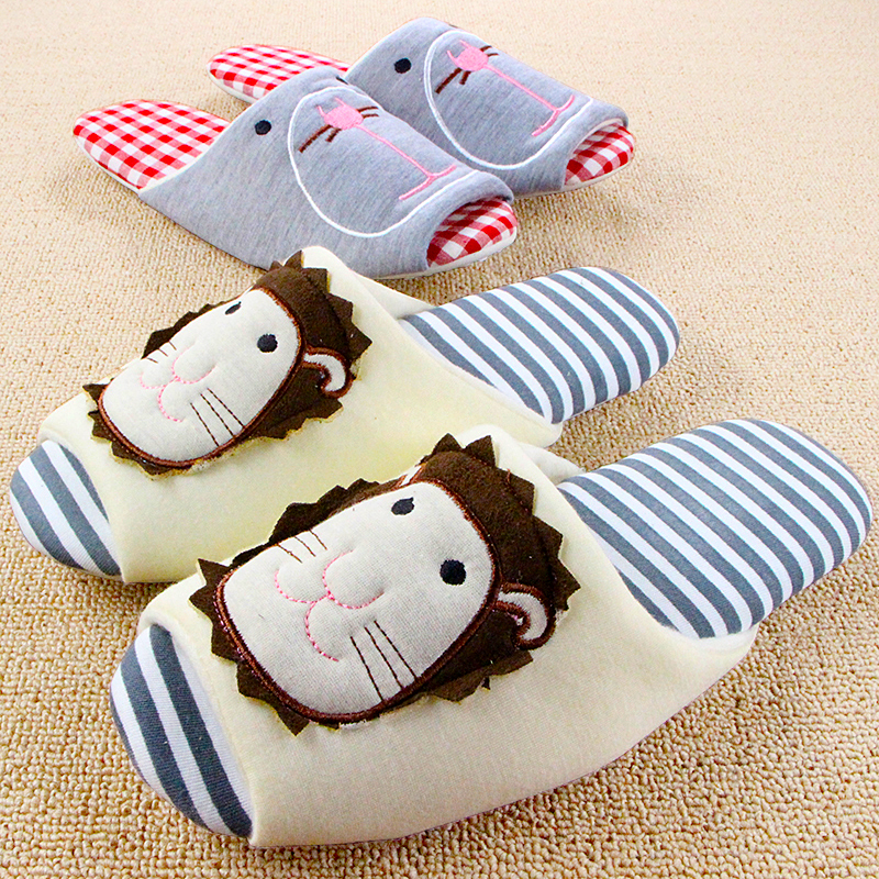 Cotton Lion Cat Cartoon Animal House Slippers Women Mujer Shoes Antiskid Maternity Pantuflas Chaussons Pantofole Donna Chinelo