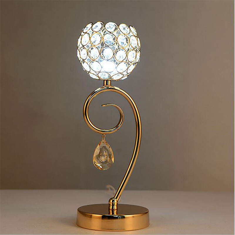 ФОТО Modern Fashion Creative Silver/Gold Aluminum K9 Crystal Led E27 Table Lamp for Wedding Decor Living Room Bedroom Restaurant 1454