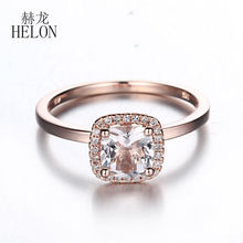 HELON Solid 14K Rose Gold 6mm Cushion Genuine Morganite Pave Natural Diamonds Jewelry Engagement Wedding Gemstone Women Ring