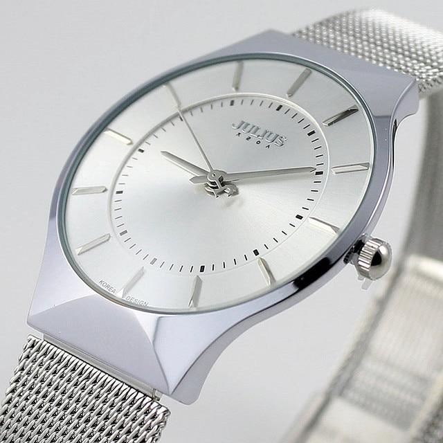 2cb99bfc054 Top Luxury Brand Julius Men s Watches Stainless Steel Band Analog Display  Men Quartz Wrist watch Ultra Thin Dial Men s Watches