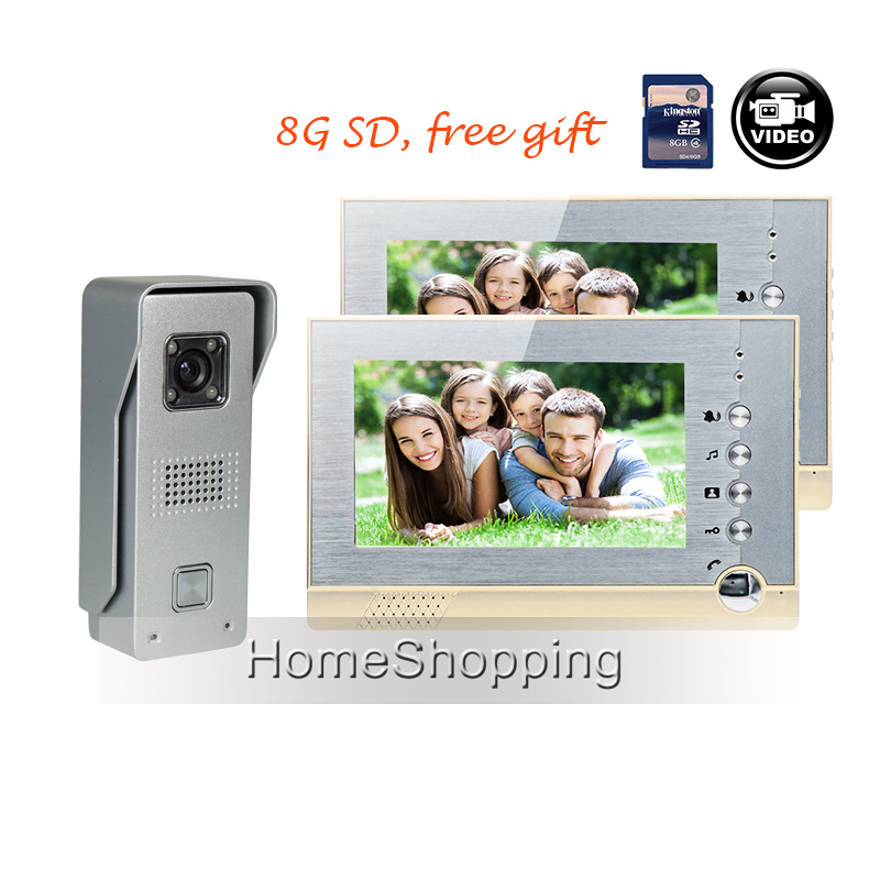купить FREE SHIPPING NEW 7 inch Recording Video Door Intercom phone 2 Monitors + Outdoor Night Vision Door Camera + 8G SD WHOLESALE недорого