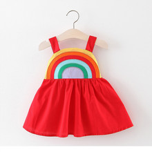 2019 summer new girl baby cute rainbow strap dress 0-3years girls candy color vest beach