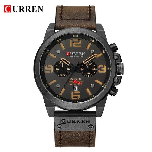 Curren Sport Military Genuine Leather Chronograph Waterproof Men Quartz Watches 1