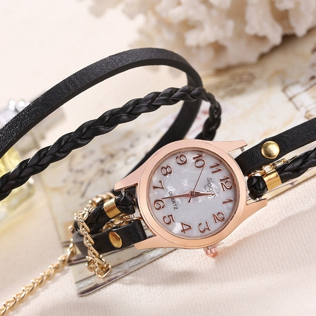 Fashion Brand Bracelet Watches Women Hand-Knitted Leather Strap Wristwatch Ladies Hot Selling Watch Relogio Feminino Ceasuri