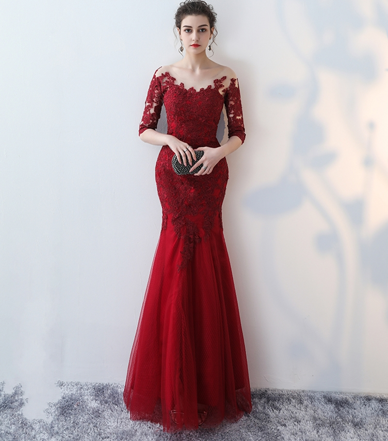 Red And White Lace Prom Dress: Wine Red Lace Appliques Scoop Evening Dresses 2019 Mermaid