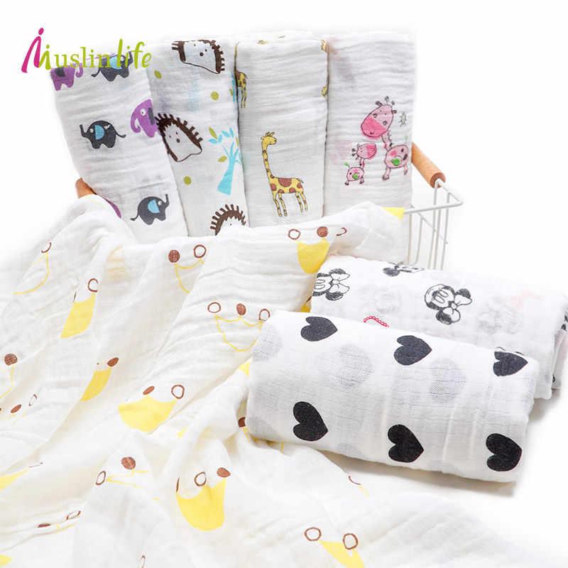 Muslinlife 2018 moda algodón Swaddle manta bebé recién nacido muselina Wrap dibujos animados impreso manta niño Manta de algodón