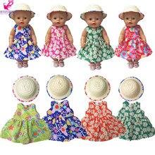 Para 43 cm muñeca sombrero de paja para 18