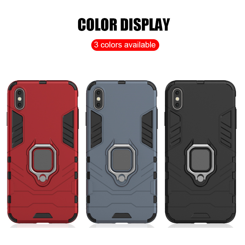 Luxury Armor Shockproof Kickstand Phone Case For iPhone XS MAX XR XS X 8 7 6S Plus 5S SE Ring Stand Holder Bracket Cover Funda