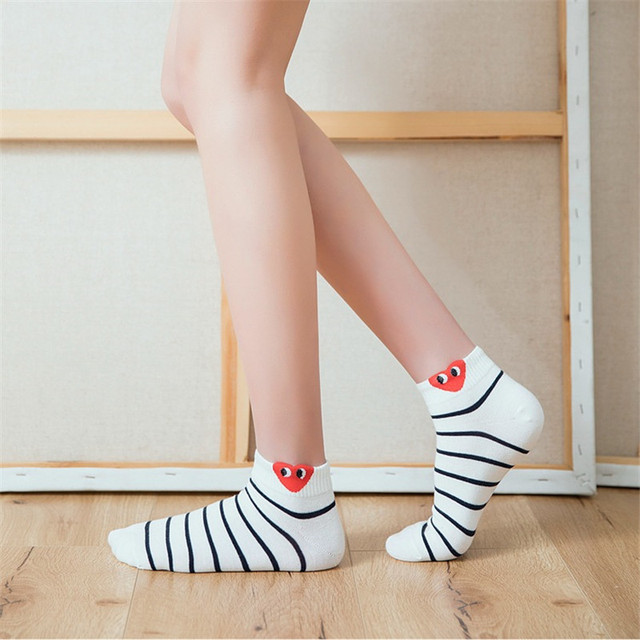 Red Heart Cute and Funny Female Socks