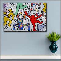Tamanho grande impressão keith haring pop arte da parede graffiti imagem decoração para casa sala de estar moderna impressão em tela quadros sem moldura