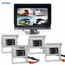 DIYSECUR 9 Inch Split Quad Display Video Security Monitor + White 4 x CCD IR Night Vision Rear View Camera Waterproof