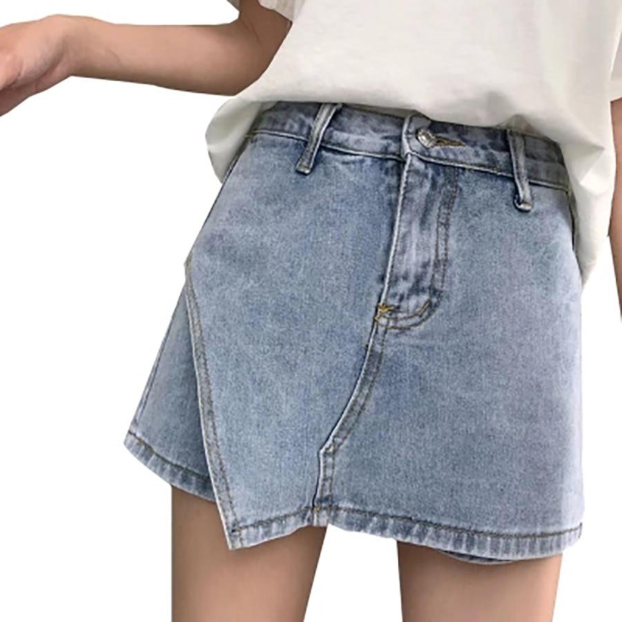 Comprar Pantalones Cortos De Denim Mujer Cintura Alta Sueltos doeCBxr