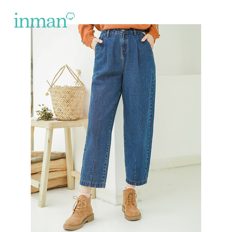 INMAN 2018 Inverno Tessuto di Cotone Metà di Vita Artistico Stile Allentato Carota Forma Diritta Delle Donne Dei Jeans Pantaloni