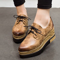 Spring  thick bottom platform shoes women retro old color leather increased height women casual shoes