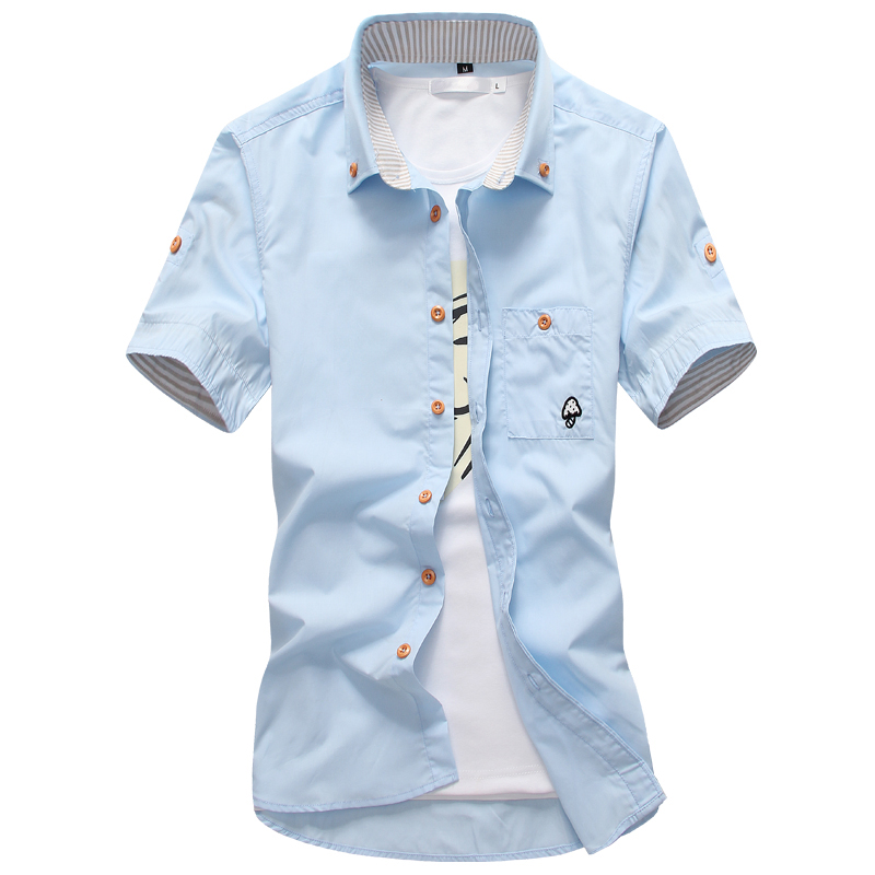 2019 Summer Men's Essential Trend Shirt, Fashion Embroidered Large Size Men's Shirt Short Sleeve, Premium Quality Men's Clothing