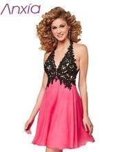 Kurze Abendkleid 2016 Anxia Sexy Tiefem V-ausschnitt Rosa Open Back Chiffon Robe De Soiree Courte Halter Homecoming Party Kleider