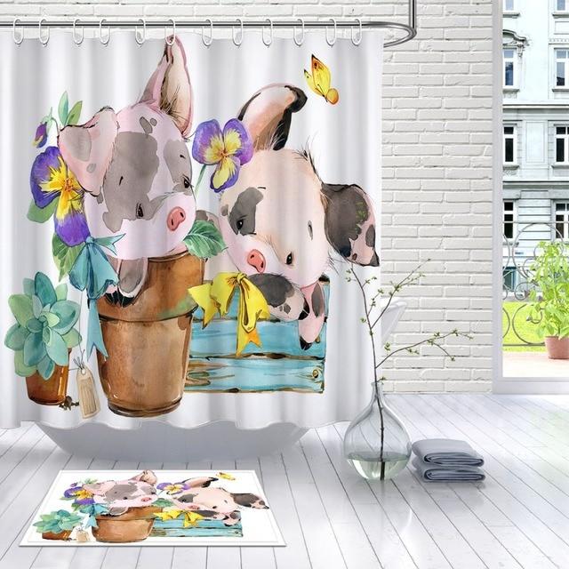 LB Cute Pig Cartoon Watercolor Farm Animal White Shower Curtain And Mat Waterproof Polyester Bathroom Fabric