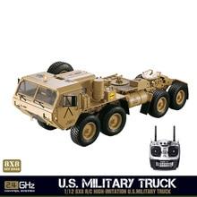 Hg 1/12 Rc Militaire Truck Metalen 8*8 Chassis Motor P802 Met Radio Led Geluiden Systeem TH05145