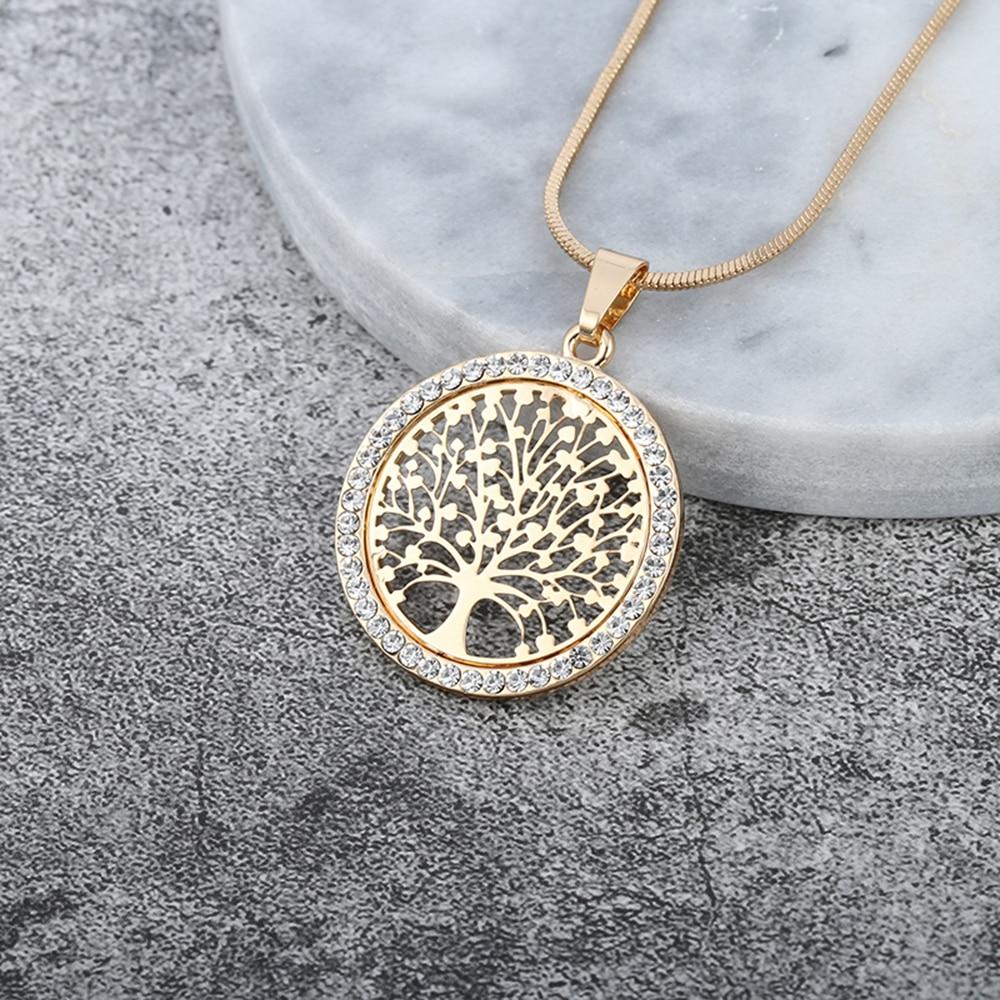 Горячее Дерево жизни кристалл круглый маленький кулон ожерелье золотой серебряный цвет Bijoux Collier элегантные женские ювелирные изделия подарки дропшиппинг tree of life bijoux colliernecklace gold   АлиЭкспресс