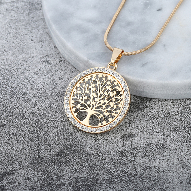 Tree of Life Crystal Round Small Pendant Necklace Gold Silver