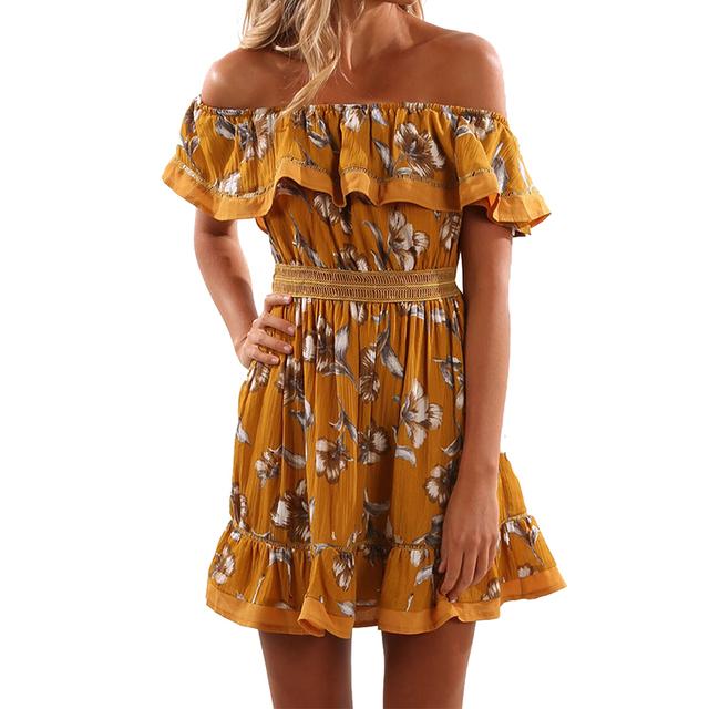 Red Floral 2017 Summer dress off shoulder Ruffles Slash neck print A-lined mini dress fashion women dresses