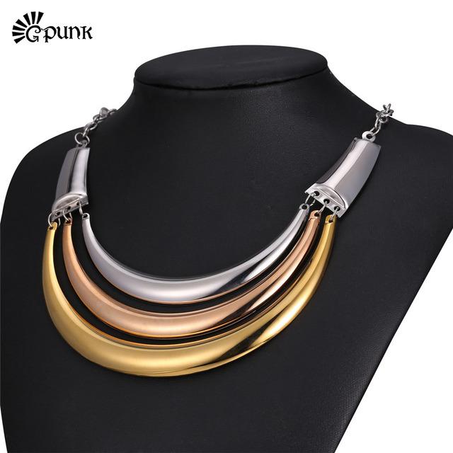 Par punky de múltiples capas del encanto de las mujeres choker collar collar corto al por mayor de oro amarillo/rose plateó la joyería n2030g
