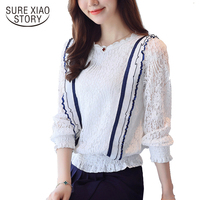 new arrive lace blouses female long sleeves spring white and orange shirt office lady clothing fashion thin tops D268 30