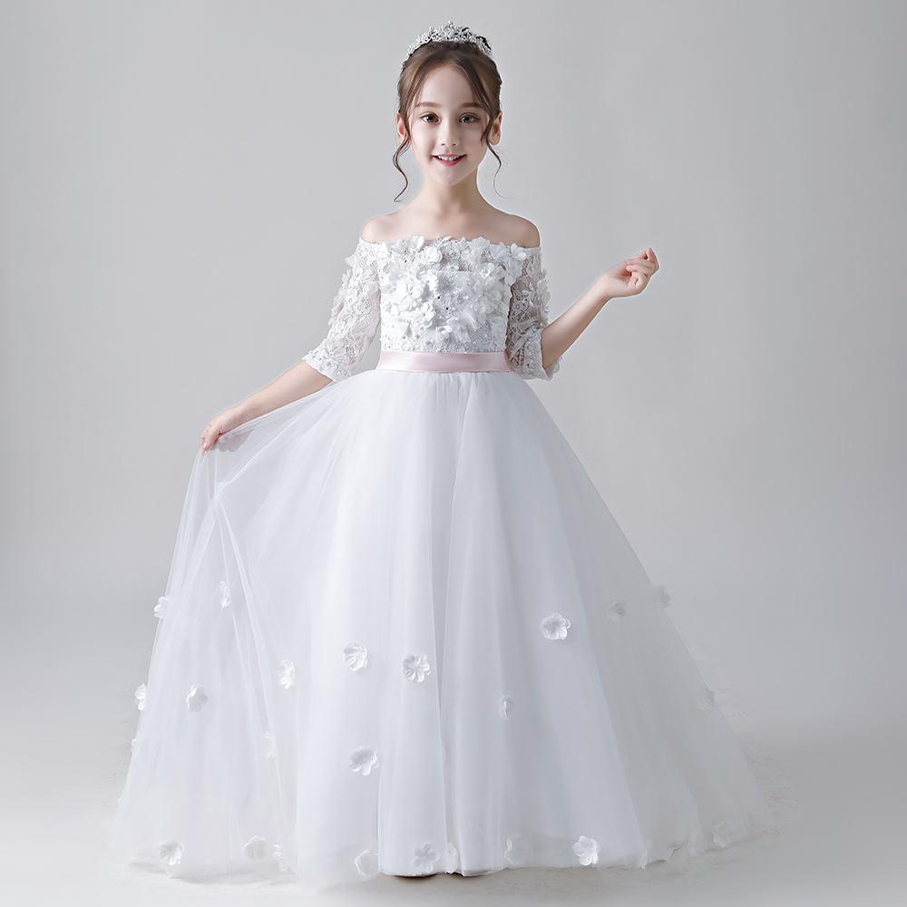 Boat-Neck White Lace Ball Gown Flower Girl Dress For Wedding Lace-up First Communion Prom Dresses For Girls
