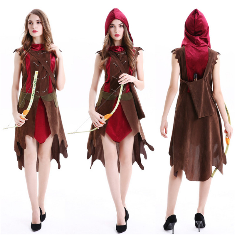new Little Red Riding Hood Costume Small RedCap Huntress cosplay Party Dress female warrior Heroine clothing Halloween for Women