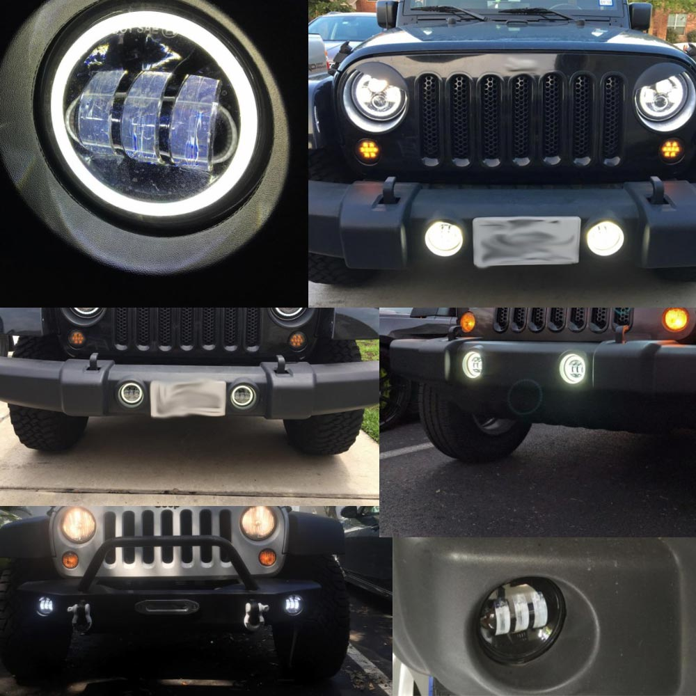 Image 5 - 4 Inch Round Led Fog Light Headlight 30W Projector lens With Halo DRL Lamp Offroad For Jeep Wrangler Jk Dodge hummer H1-in Car Light Assembly from Automobiles & Motorcycles