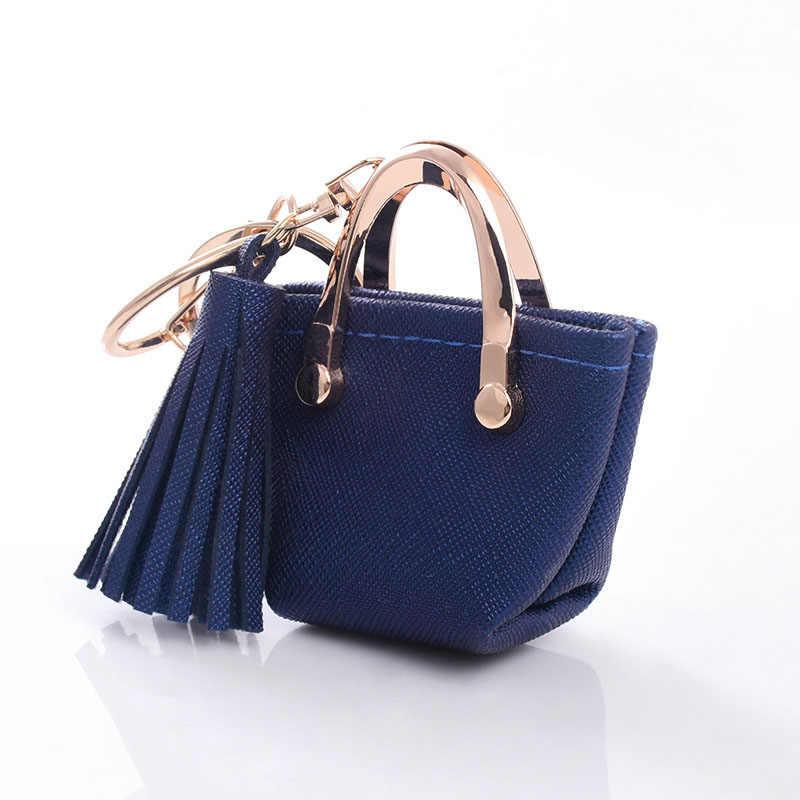 Chaveiro mini bolsa da moeda zíper pequena bolsa decoração chaveiro saco de couro do plutônio pingente moda jóias