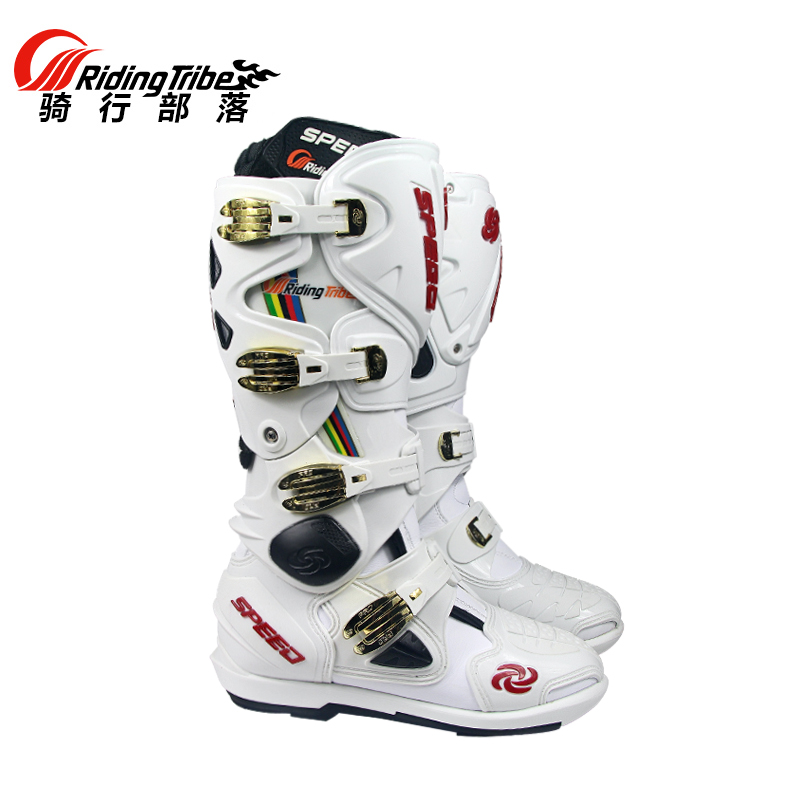 2017 High quality Motorcycle Boots Pro biker SPEED Bikers Motocross Leather Long knee-high Shoes white black moto GP dirty bike ...
