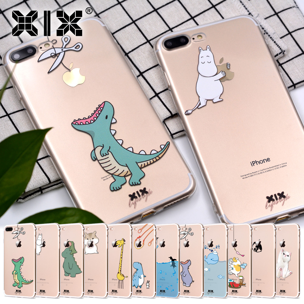 XIX for Funda iPhone 6 case 5 5S 5C 6S 7 Plus X Cute Dinosaur Soft TPU for Cover iPhone 7 Case Original for Coque iPhone 8 Case