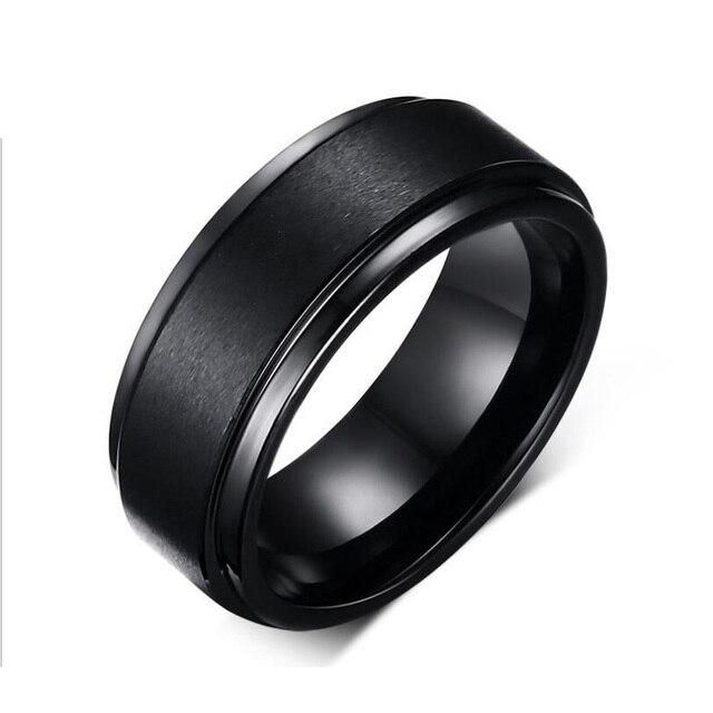 8mm Wide Fashion Black Men Tungsten Wedding Rings Jewelry Decent Carbide