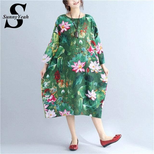 Sunnyyeah 2018 New Plus Size Women Dress Vintage Women Loose Cotton