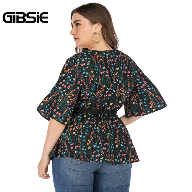 GIBSIE Plus Size Elegant Floral Print V-neck Wrap Blouse Women 2019 Summer Casual Belted Hafl Sleeve Ladies Tops and Blouses 2