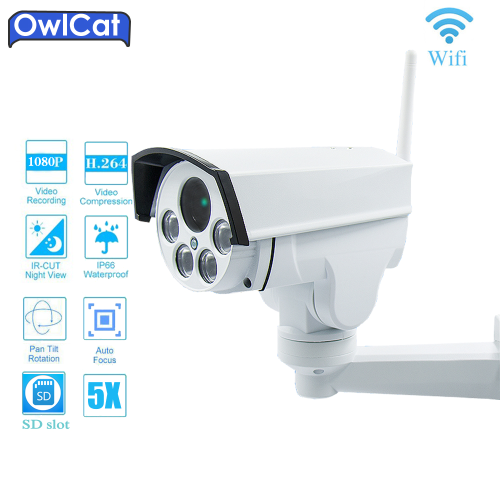 OwlCat HD 1080P Wifi PTZ IP Camera Bullet Outdoor 5X 2.7-13.5mm 2MP Wireless IR Onvif2.4 SD Card Audio MIC Security CCTV CameraOwlCat HD 1080P Wifi PTZ IP Camera Bullet Outdoor 5X 2.7-13.5mm 2MP Wireless IR Onvif2.4 SD Card Audio MIC Security CCTV Camera