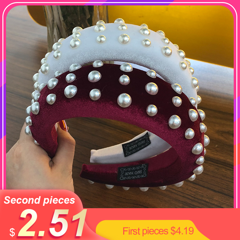 Levao 2019 Handmade Thick Velvet Headbands for Women Accessories Hair Band 4CM Wide Simulation Pearls   Headwear   Padded Hairbands