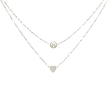Women's Heart Shaped Double Layer Design Necklace Jewelry Necklaces Women Jewelry Metal Color: Silver Plated