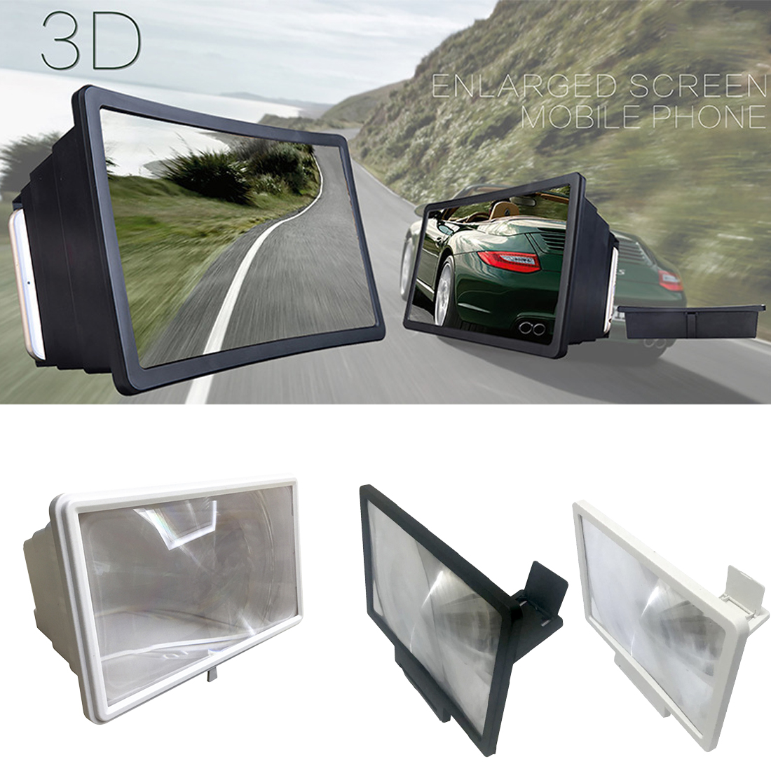Generous 3D HD Movie Video Amplifier Cell Phone Screen Magnifier With Foldable Holder Stand image