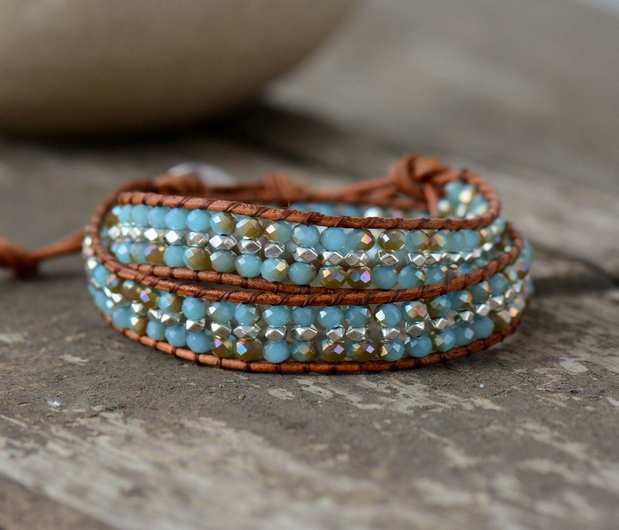 Crystal Rhinestone Bracelets Bling Boho Layered Leather Wrap Vintage Woven Cuff Bracelet Custom Dropship