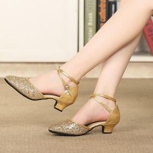 Image 4 - Latina tango sapatos de dança feminino conforto fechado dedo do pé menina moderno sapatos de dança de salão vermelho/preto/ouro sola macia sapatos de dança ao ar livre