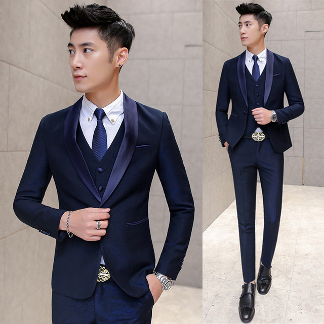 (Jacket+Pants+Vest+Tie)Modern Design Navy Blue Men